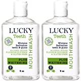 Lucky Teeth Organic Mouth Wash - PLUS WHITENING - Whitens, Refreshes. Food Grade Peroxide + Essential Oils. (2 Bottles)