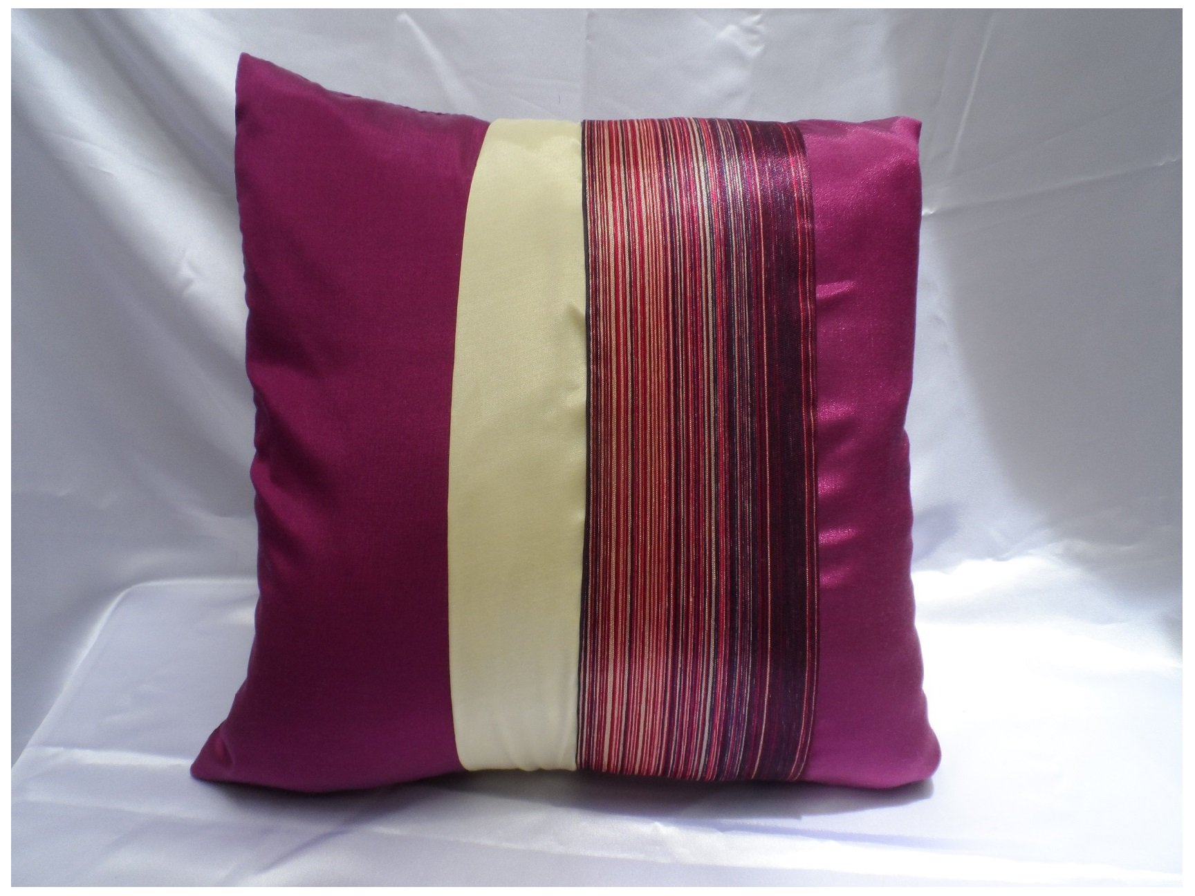 Throw Pillow Cover/pillowcase Stick with Stripe Textile Design Handcrafted By Thai Silk Size 16x16 Inches (Dark pink)