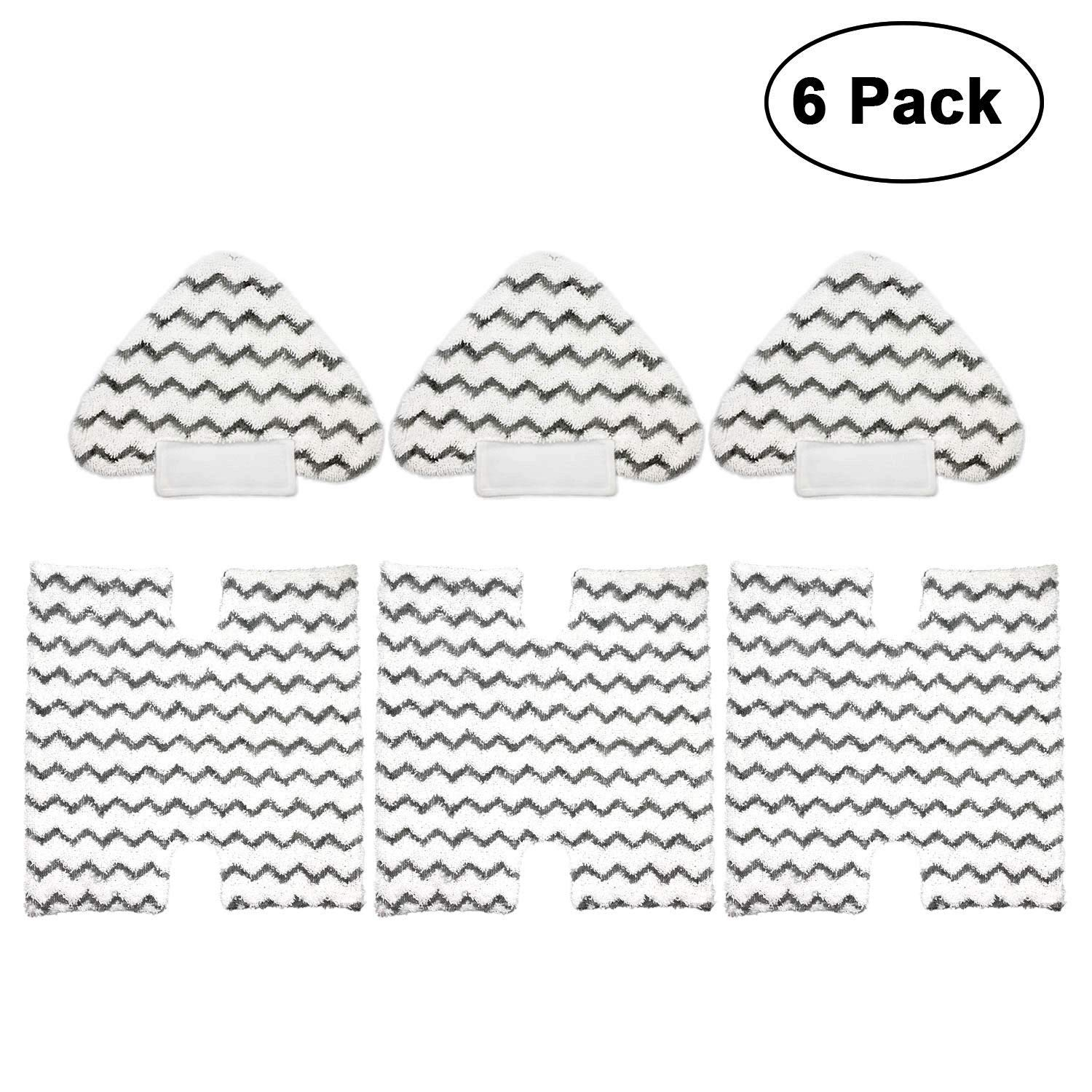 3 Pack Touch-Free Steam Mop Pads + 3 Pack Triangle Dirt Grip Washable Pads Kit for Shark Lift-Away Pro & Genius Steam Pocket Mop System S3973 S3973D S5002 S5003 S6001 S6002 S6003 Part P184WQ & P182W