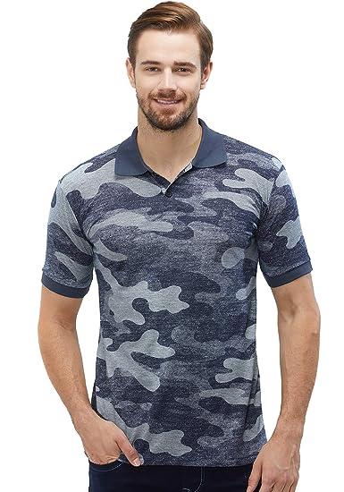 a4a0d8d5 WYO Men's Cotton Camouflage Army Colar Neck Polo T-Shirt(Navy Camo, Small