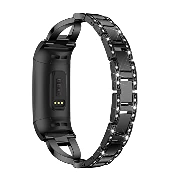 HEYSTOP Bling Bands Compatible Fitbit Charge 3, Band for Fitbit Charge 3  Replacement Stainless Steel Metal Bands with Rhinestone Bracelet for Fitbit