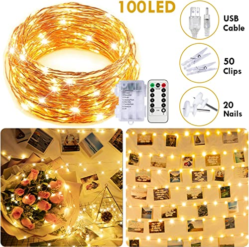 100 LED Fairy Lights with Remote, 33FT Battery Operated Long String Lights, 8 Modes Copper Wire Halloween Twinkle Lights, Indoor Outdoor Waterproof, Warm White