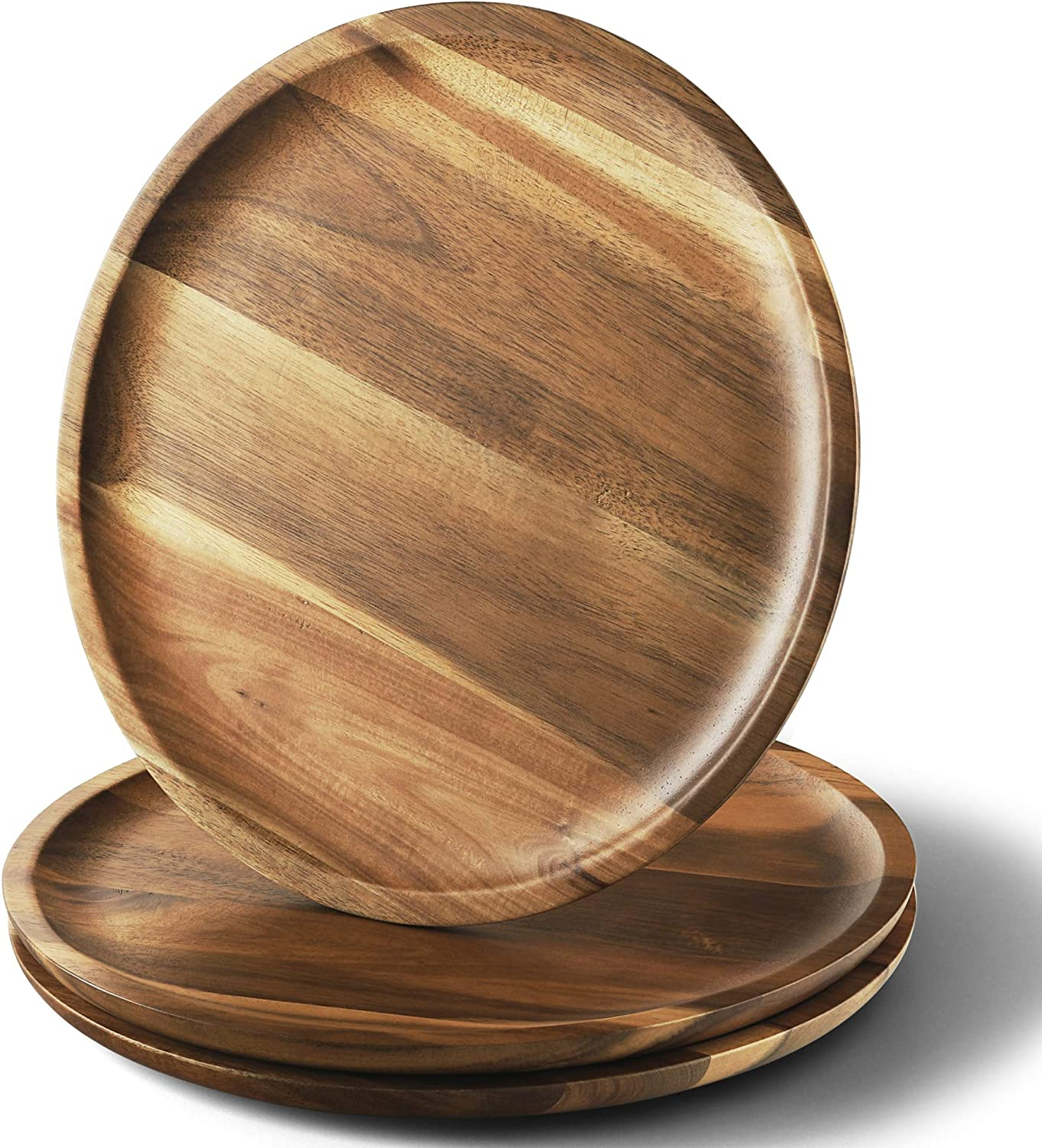 FANICHI Acacia Wood Dinner Plates, 11 Inch Round Wood Plates Set of 3, Easy Cleaning & - Best Christmas Gift
