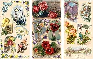 """Decoupage Paper Pack (12 Sheets A4 / 8""""x11"""") Flowers Landscapes Garden FLONZ Vintage Ephemera"""