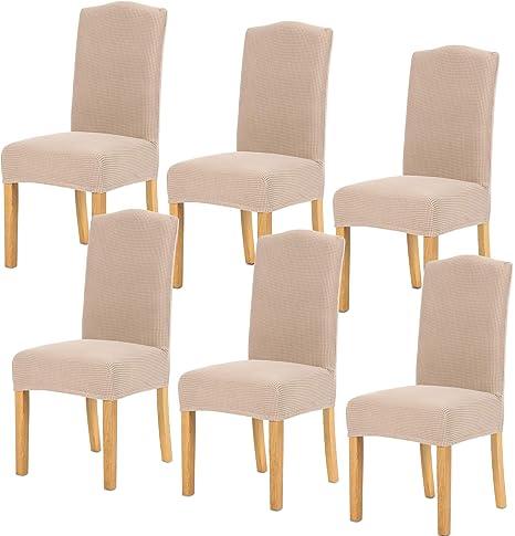 TIANSHU Fundas para sillas 6 Piezas,Poliéster Elástica Fundas sillas Duradera Modern Bouquet de la Boda Hotel Decor Restaurante(6 Piezas,Arena)
