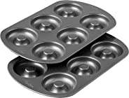 Wilton 2105-1620 Non-Stick 6-Cavity Doughnut Baking Pans, Multipack of 2, Silver