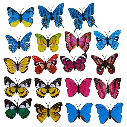 Christmas Wedding Colors.Toogoo R 20pcs 7cm 3d Artificial Butterfly Pin Clip Double Wing For Home Christmas Wedding Decoration Colors Randomly Send
