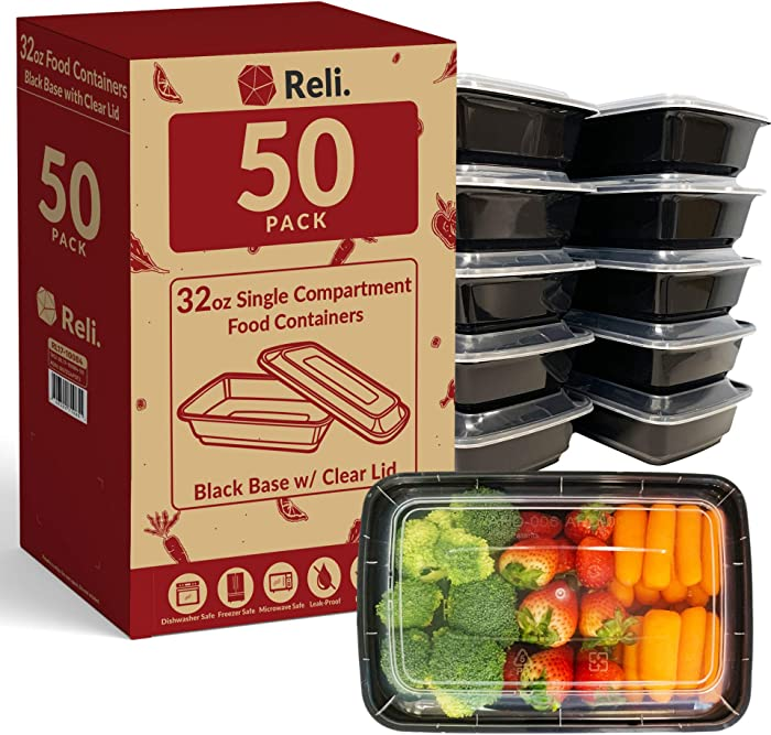 Reli. Meal Prep Containers, 32 oz. (50 Pack) - 1 Compartment Food Containers with Lids, Microwavable Food Storage Containers - Black Reusable Bento Box/Lunch Box Containers for Meal Prep (Black)(32oz)