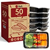 Reli. Meal Prep Containers, 32 oz. (50 Pack) - 1 Compartment Food Containers with Lids, Microwavable Food Storage Containers