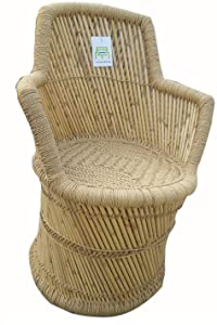 Ecowoodies Ajuga Eco Friendly Handicraft Cane Chairs and Bamboo Stool ( 1 Chair + 1 Stool)