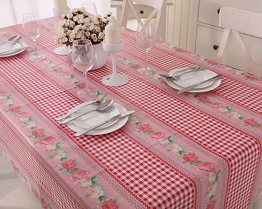 Vinylla Mantel para mesa de tela de guinga (PVC, de fácil limpieza ...