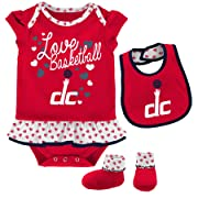 NBA Newborn & Infant  Little Sweet  Onesie, Bib and Bootie Washington Wizards-Red-6-9 Months