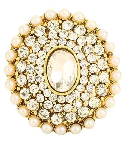 Buy Bling N Beads Pearl Kundan Adjustable Big Rings For Girls