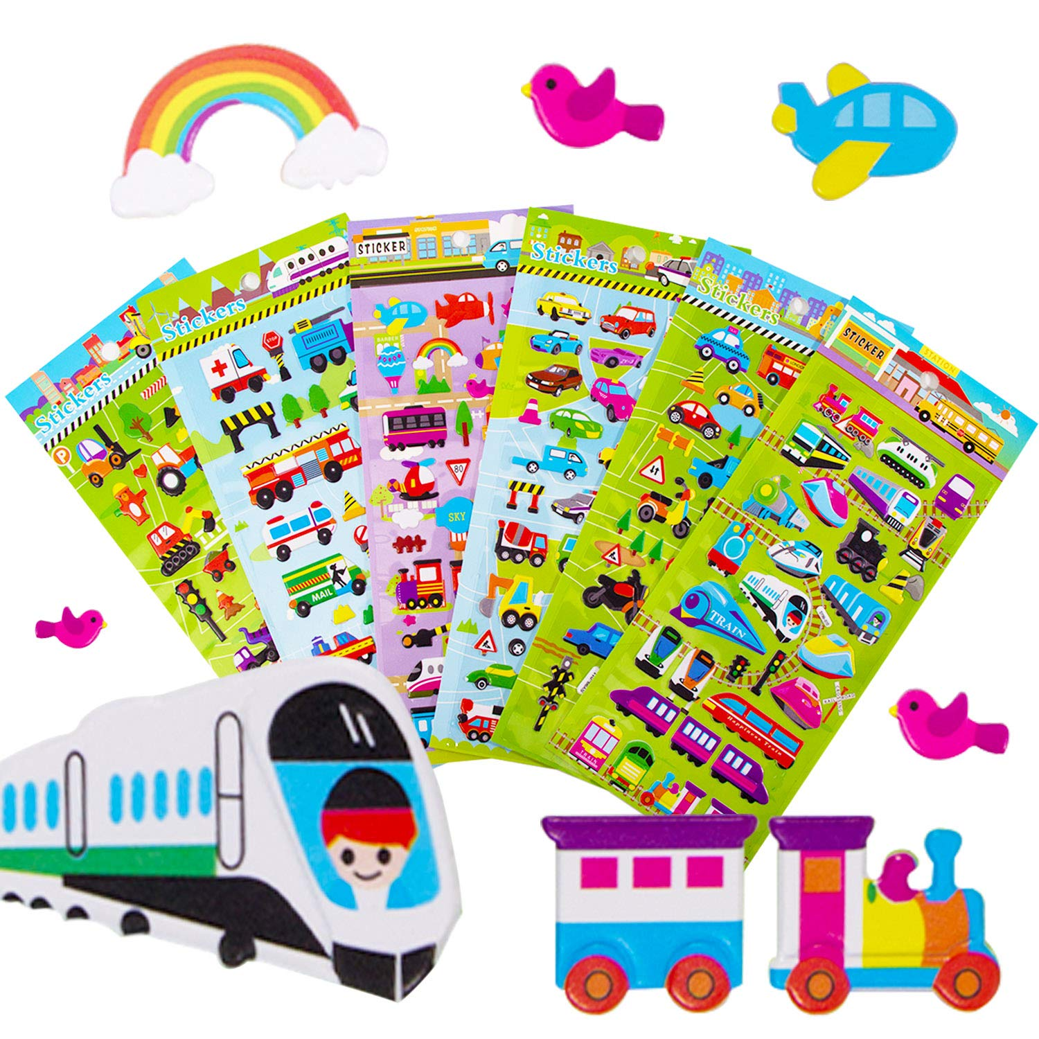 Stickers 1300 Year-Round Sticker Bulk Pack for Teachers School,Students Toddlers,Scrapbooking Girl Boy Birthday Present Gift 3D Puffy Stickers Including cars and more and 20 Different Scenes