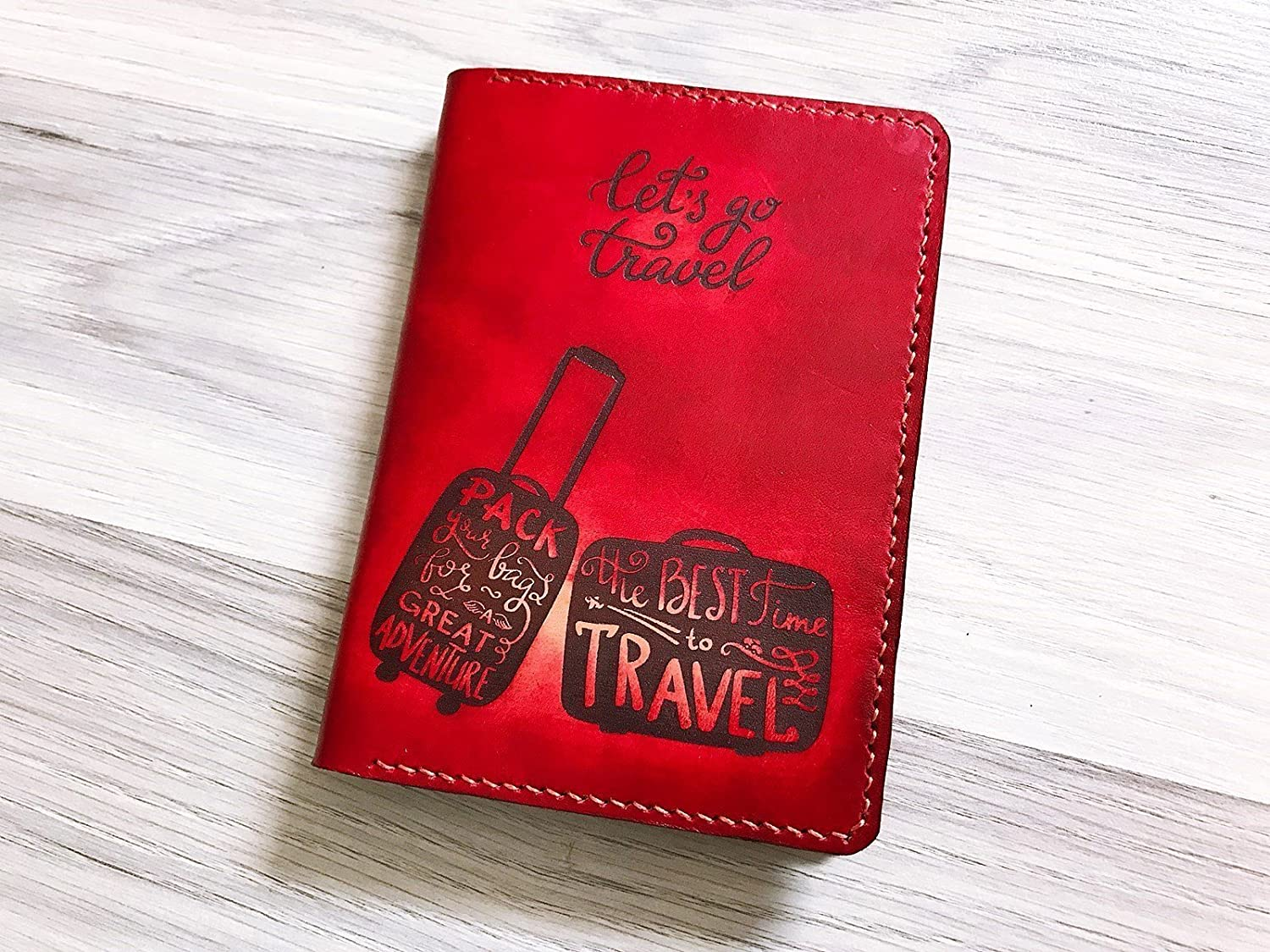 Personalized Anchors /& Argyle Genuine Leather Passport Cover