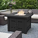 Belleze 40,000BTU Outdoor Patio Propane Gas Fire Pit Table w/ Fire Glass Kit Heater LG Gas, Black