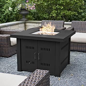 Belleze 40,000BTU Outdoor Patio Propane Gas Fire Pit Table W/ Fire Glass  Kit Heater