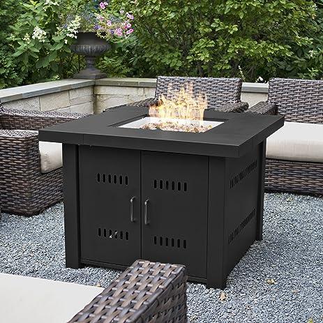 Belleze 40,000BTU Outdoor Patio Propane Gas Fire Pit Table W/ Fire Glass  Kit Heater