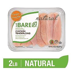 Just BARE Natural Fresh Chicken Tenders | Family Pack | Antibiotic Free | Boneless | Skinless | 2.0 LB