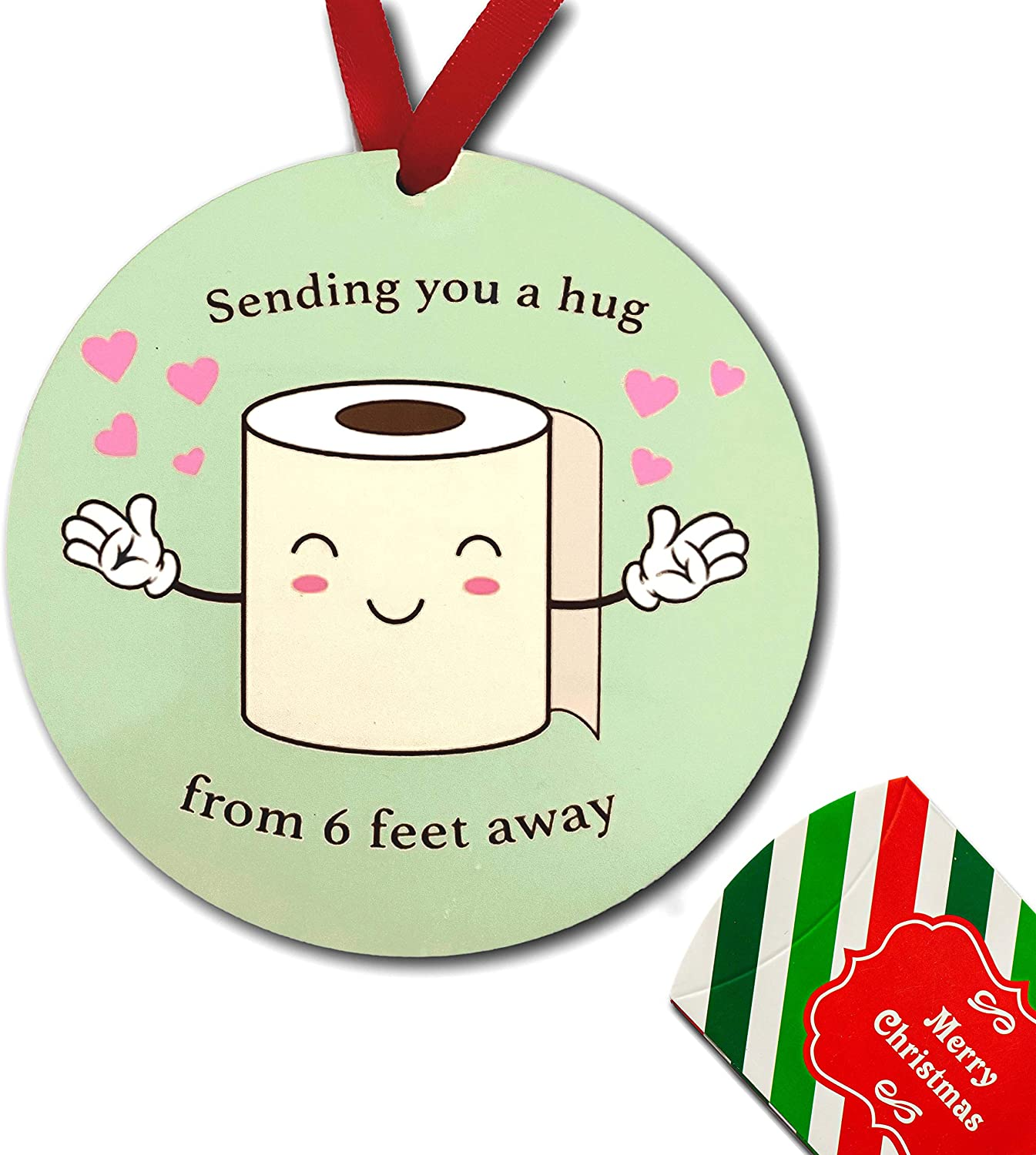2020 Christmas Ornaments Toilet Paper Quarantine Sending You a Hug from 6 feet Away Ornament Friends Social Distance Covid Gift Xmas Tree Décor Holiday Family Christmas Tree Decorations 1PC