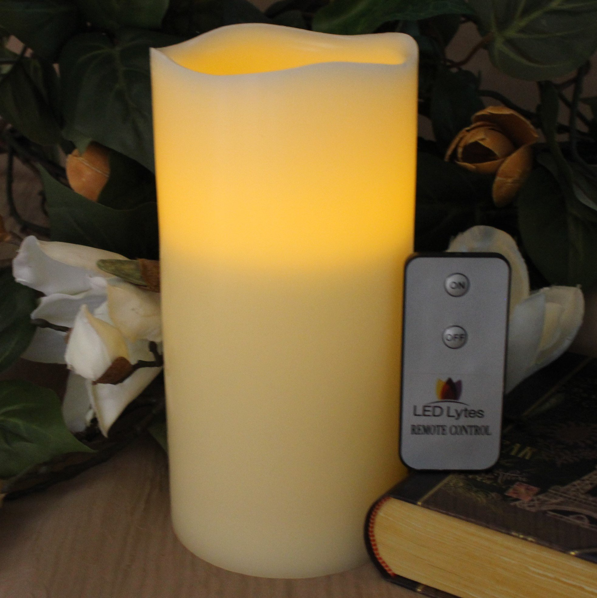 LED Lytes Flameless Candle Flickering - ONE Amber Yellow Pillar Battery Operated with Remote for Parties Weddings and Decorations by LED Lytes (Image #4)