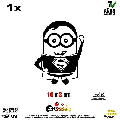 Artstickers Autocollant Minion Superman, Adhésif vinilo- Couleur Noir-1unité 10cm x 8cm spilart Cadeau