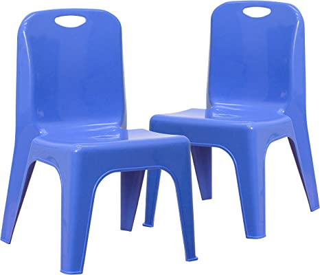Little Fingers Plastic Stackable School Chair with 10.5 Seat Height 2 Pack, Blue