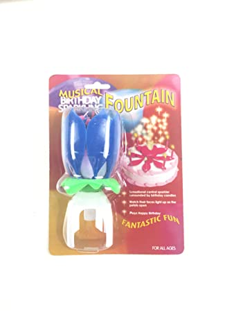High Quality Musical Birthday Sparkling Fountain Party Candle In Blue