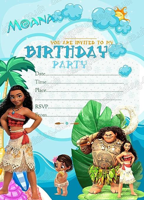 Invitaciones Para Fiesta De Cumpleaños Infantil Con Temática De Moana De Disney 8 Tarjetas De Papel Grueso Con Sobre 8