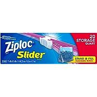 Ziploc Slider Storage Bags, Quart, 20 Count