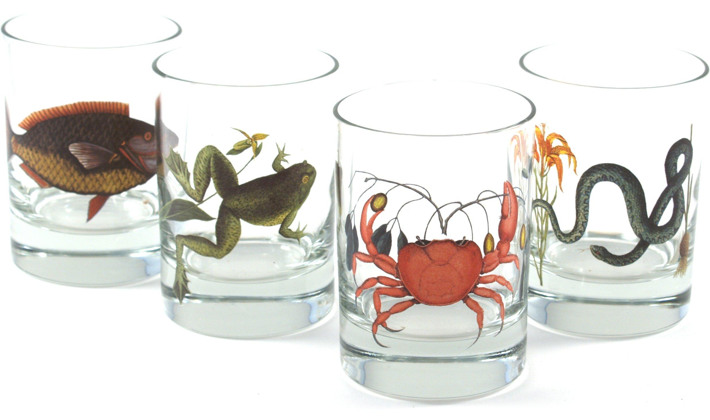 Lunt Silversmiths Marine Animals Rock Whiskey Glass, Set of 4