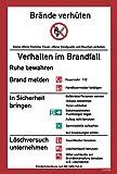 Schild Brandschutzordnung 'Brände verhüten / Verhalten im Brandfall' ISO Kunststoffplatte 279x210mm orig. Andris®