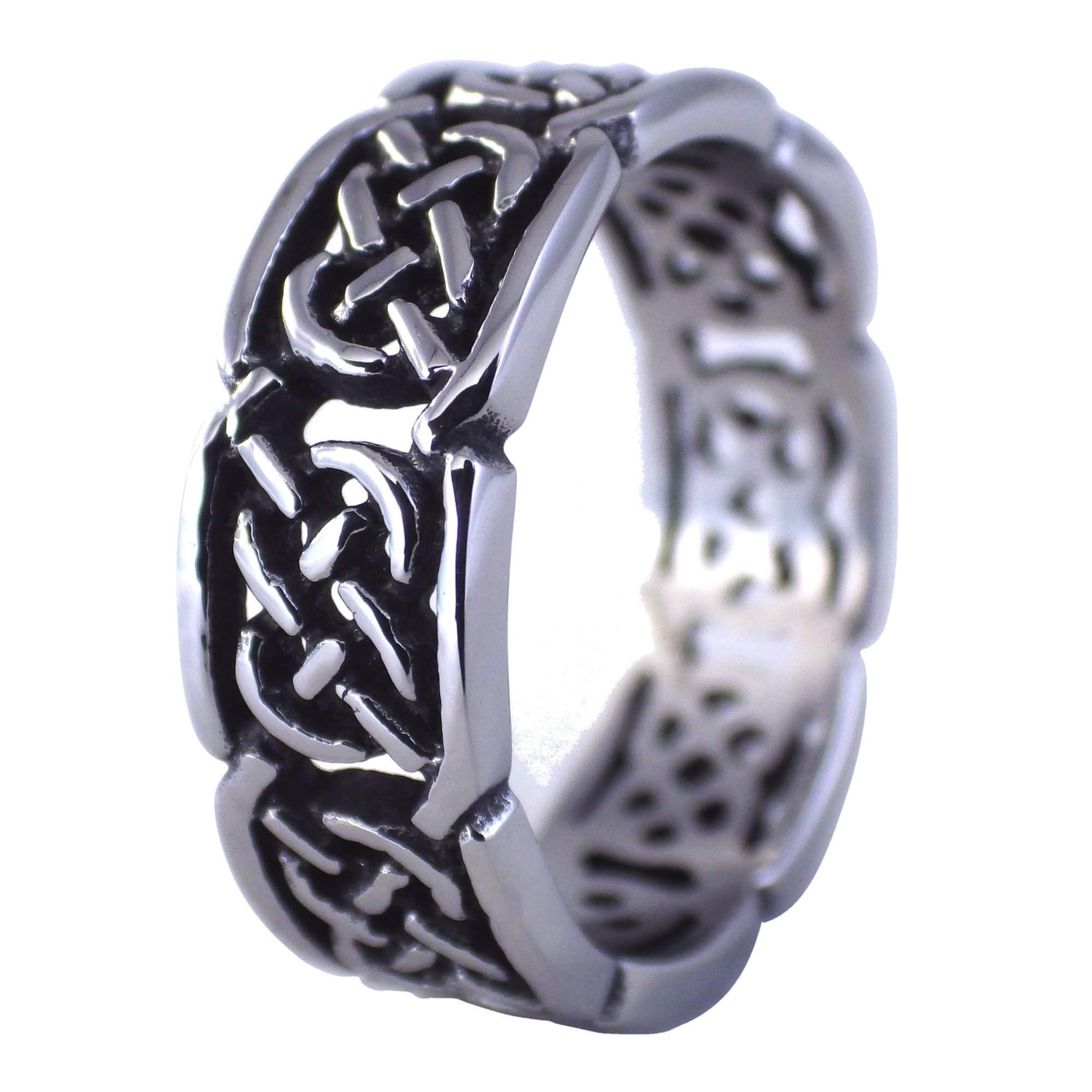 Fantasy Forge Jewelry Celtic Knot Wedding Bands Stainless Steel Ring Size 15