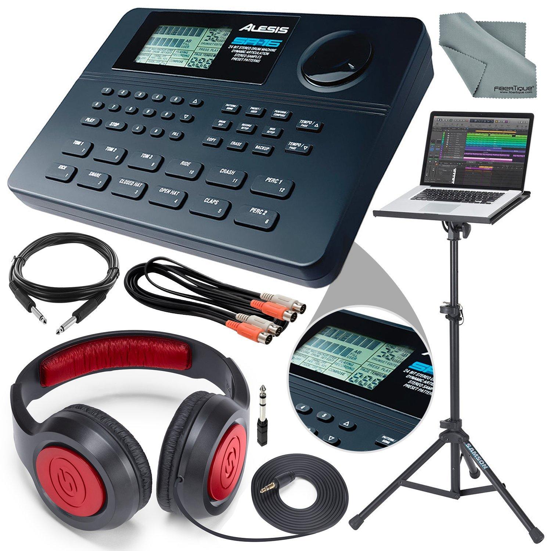 Alesis SR-16 16-Bit Stereo Drum Machine and Platinum Bundle w/Laptop Stand, Headphones, Cables and Fibertique Cloth