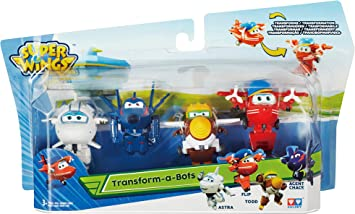 Super Wings Transform-a-Bots 4 Pack | Flip, Todd, Agent Chase, Astra | Toy 2 Inch Figures 5 cm, Multicolor, 2 Pulgadas (Alpha Animation & Toys Ltd EU720040): Amazon.es: Juguetes y juegos