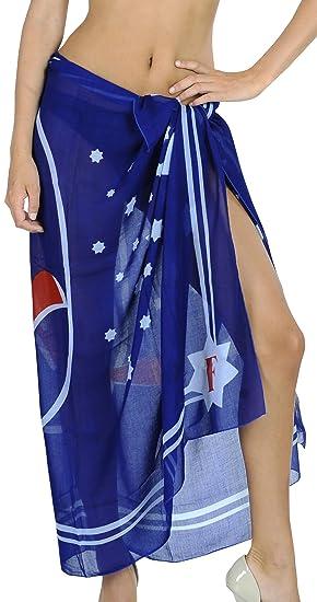 "c6cec3e07d LA LEELA Soft Light Cover Up Swim Wrap Sarong Printed 72""X42"" ..."