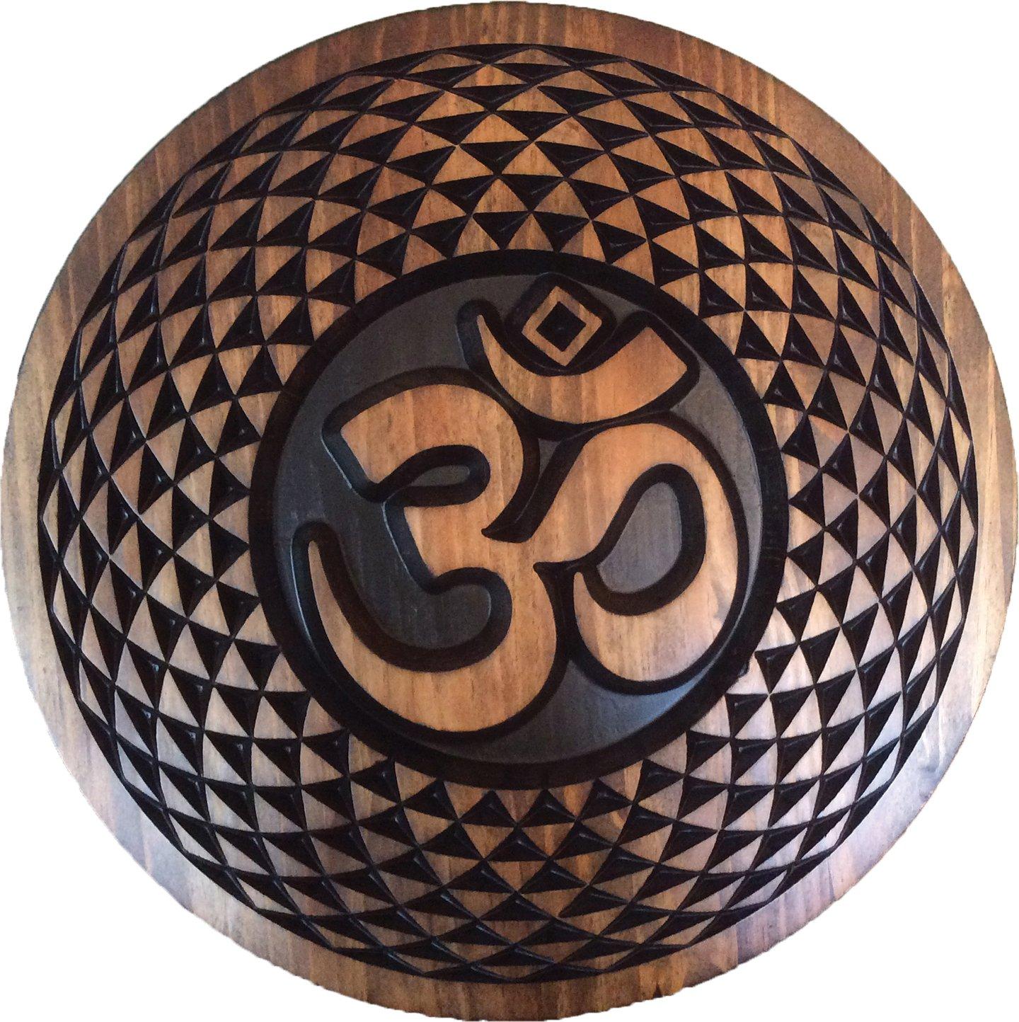 Spiritual Sacred Om - Aum (ॐ) Yoga Meditation, Torus Mandala, Pure Wood Wall Hanging Art Sculpture Decor (24'', Mahogany-Ebony)