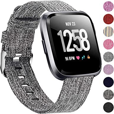 Breathable Lightweight Metal Stainless Steel Replacement Band Strap Bracelet Compatible for Fitbit Versa 2//Versa Lite//Versa SE for Women fastgo Compatible with Fitbit Versa Bands Silver