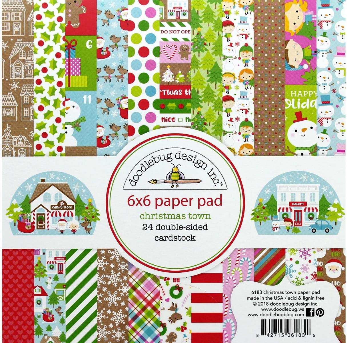 Doodlebug Design Christmas Town 12 x 12 Paper Pack Scrapbook 6179