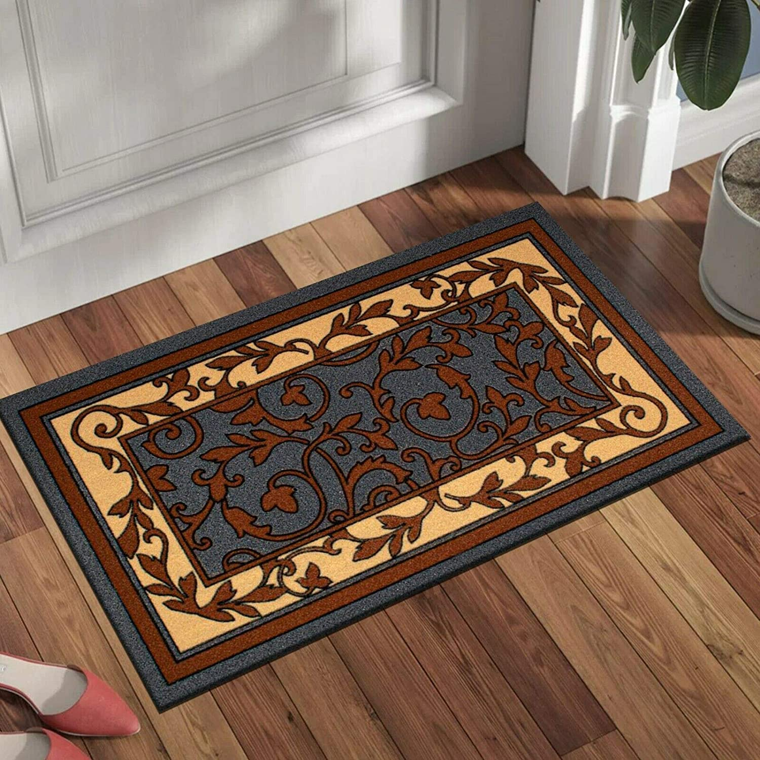 B B Entrance Doormat Super Absorbent Anti Mite Indoor Outdoor Front Back Door Mats 40 X 70 Cm Brown Leaf Kitchen Hall Entry Door Mat Amazon Co Uk Kitchen Home