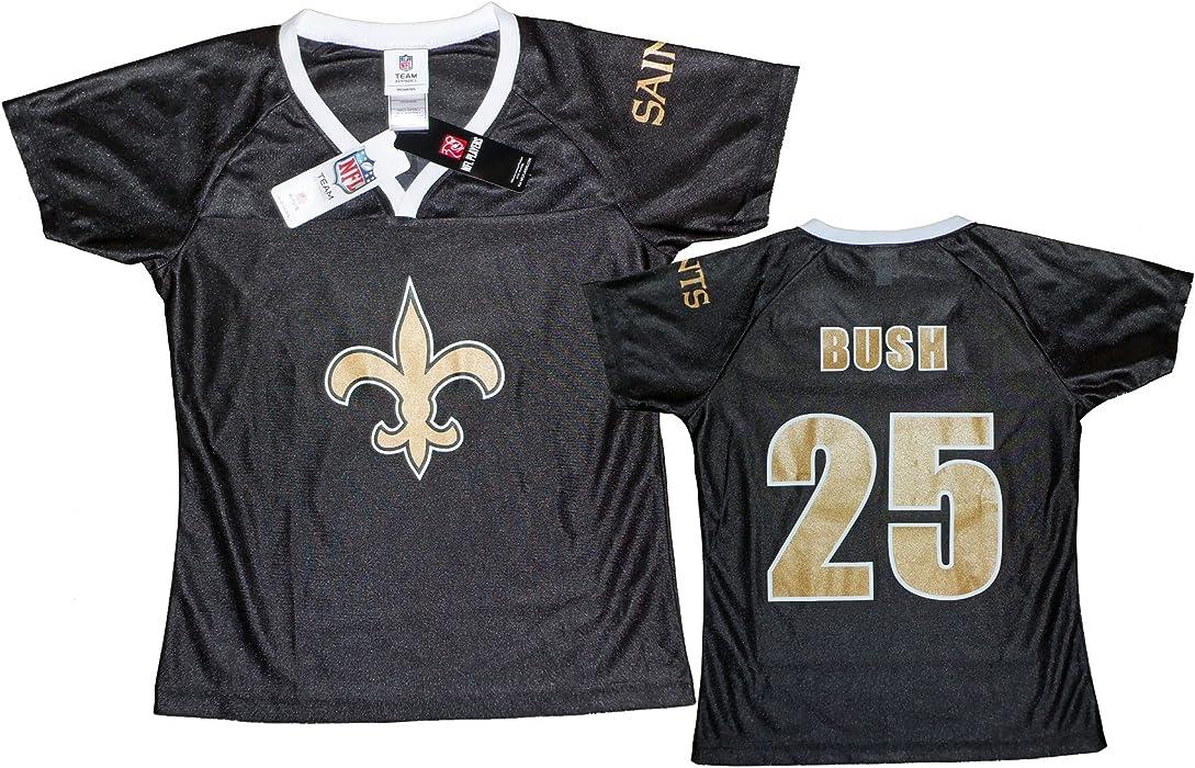 b969ef4a502 New Orleans Saints NFL Womens REGGIE BUSH # 25 Dazzle Fashion Jersey, Black  (Large
