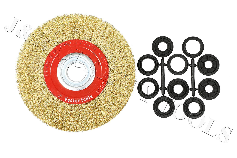 8 Inch Round Brass Plated Steel Wire Brush Wheel For Bench Grinder