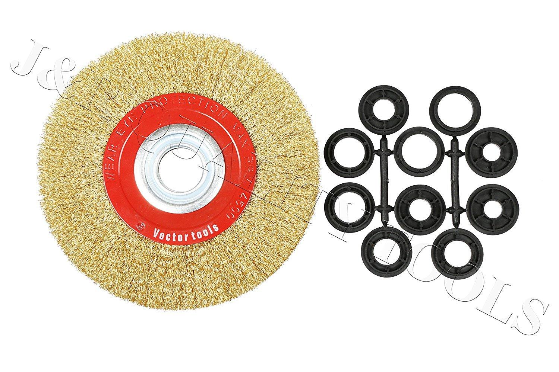 8'' Inch Round Brass Plated Steel Wire Brush Wheel For Bench Grinder