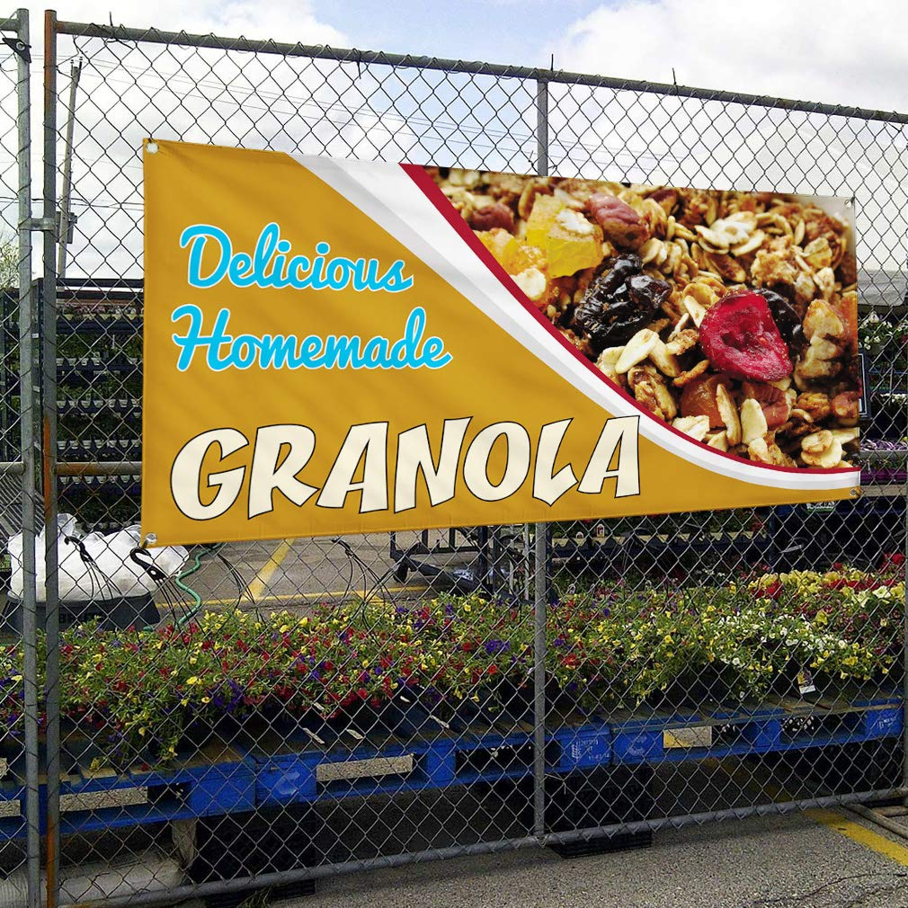 One Banner Multiple Sizes Available 44inx110in 8 Grommets Vinyl Banner Sign Delicious Homemade Granola Outdoor Marketing Advertising Brown
