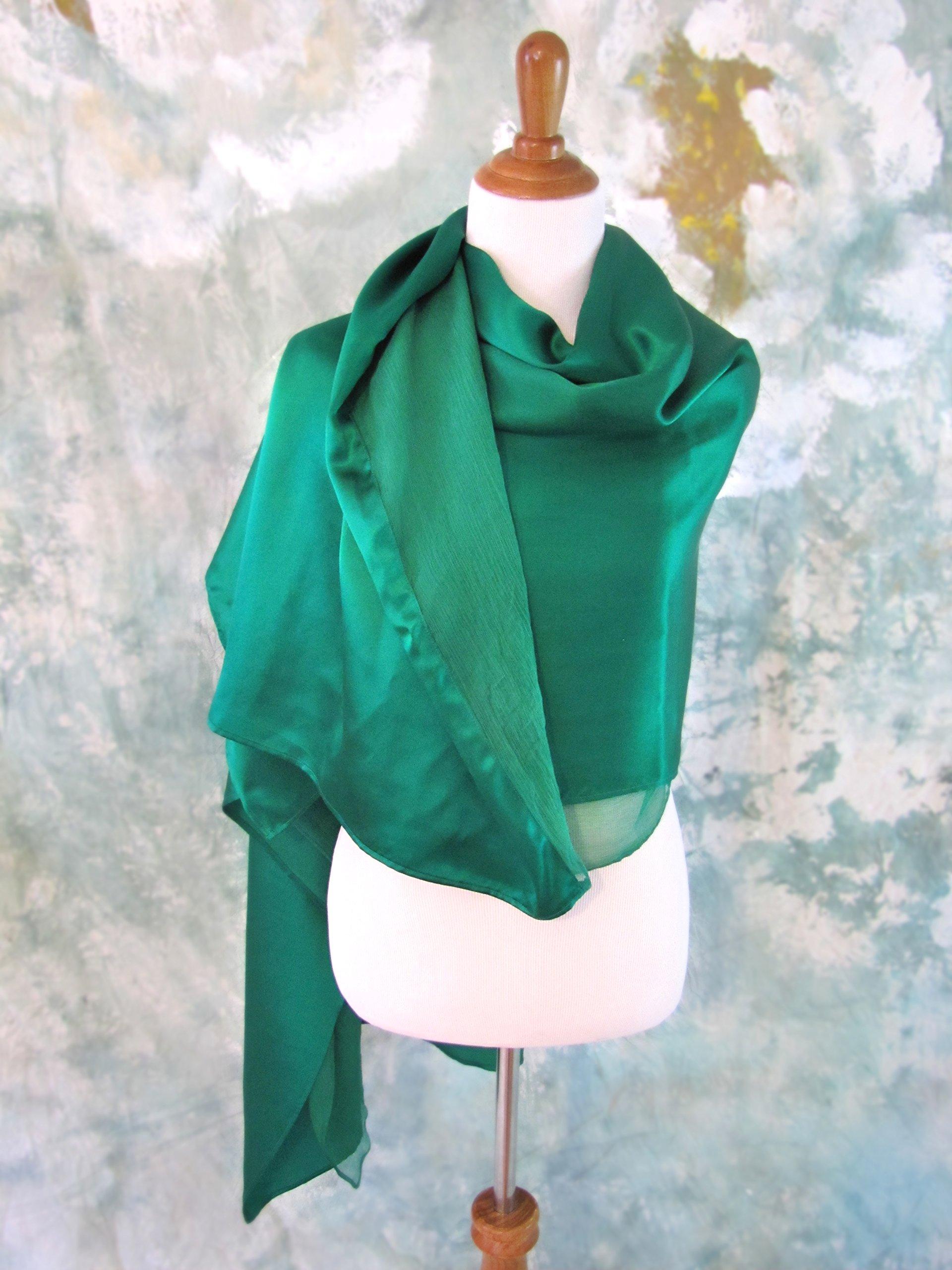 Green Silk Evening Wrap, Silk Shawl, Kelly Green Scarf, Evening Shawl, Handmade