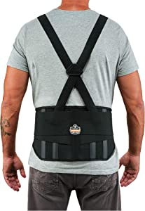 """Ergodyne ProFlex 1600 Back Support Brace, 9"""" Extended Support, High Cut Front For Mobility, 4XL,Black"""