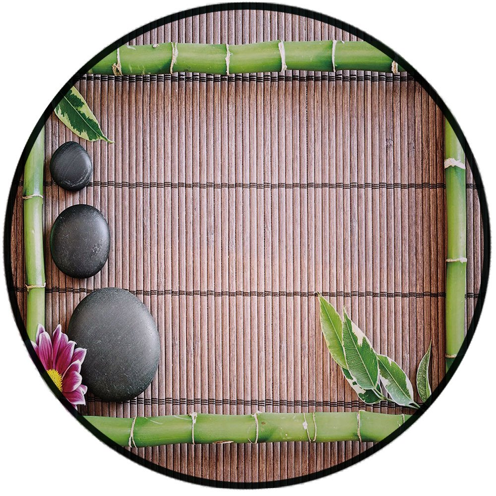 Printing Round Rug,Meditation,Spa Frame with Spiritual Stones Bamboo Stems Orchid Petals Yoga Zen Philosophy Mat Non-Slip Soft Entrance Mat Door Floor Rug Area Rug For Chair Living Room,Multicolor