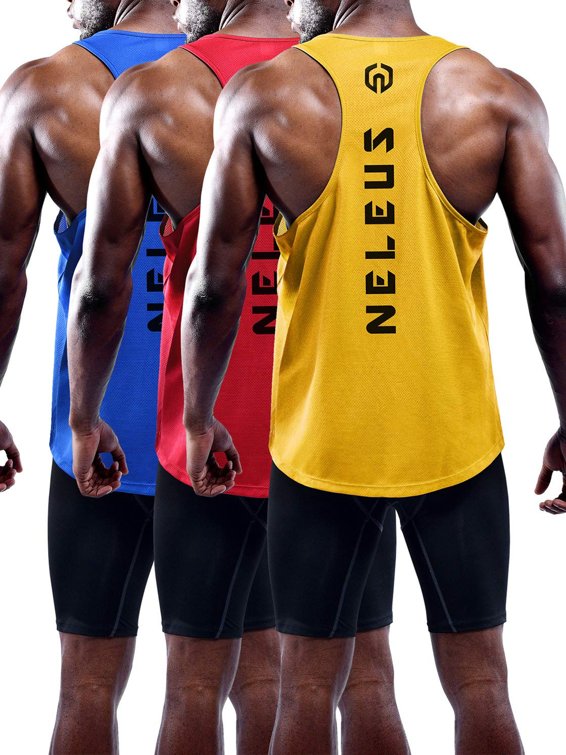 Neleus Men's 3 Pack Dry Fit Athletic Muscle Tank,5031,Blue,Red,Yellow,XS,EU S by Neleus