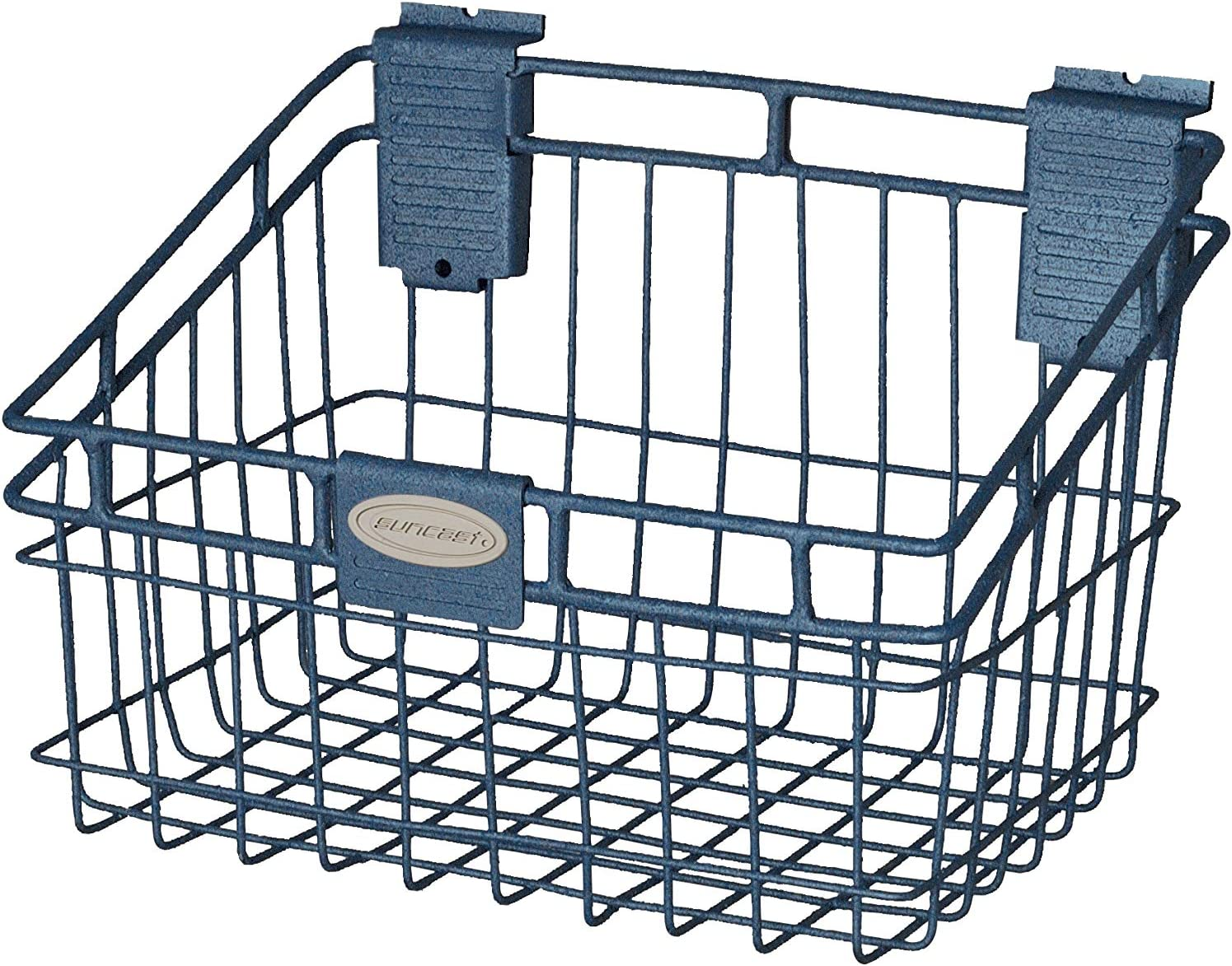Suncast Blue Wire Basket Ideal for Hanging on Slat Wall, Door, Counter for Convenient and Accessible Storage-Holds up to 40 lbs, 8 x 12 x 8 5/16