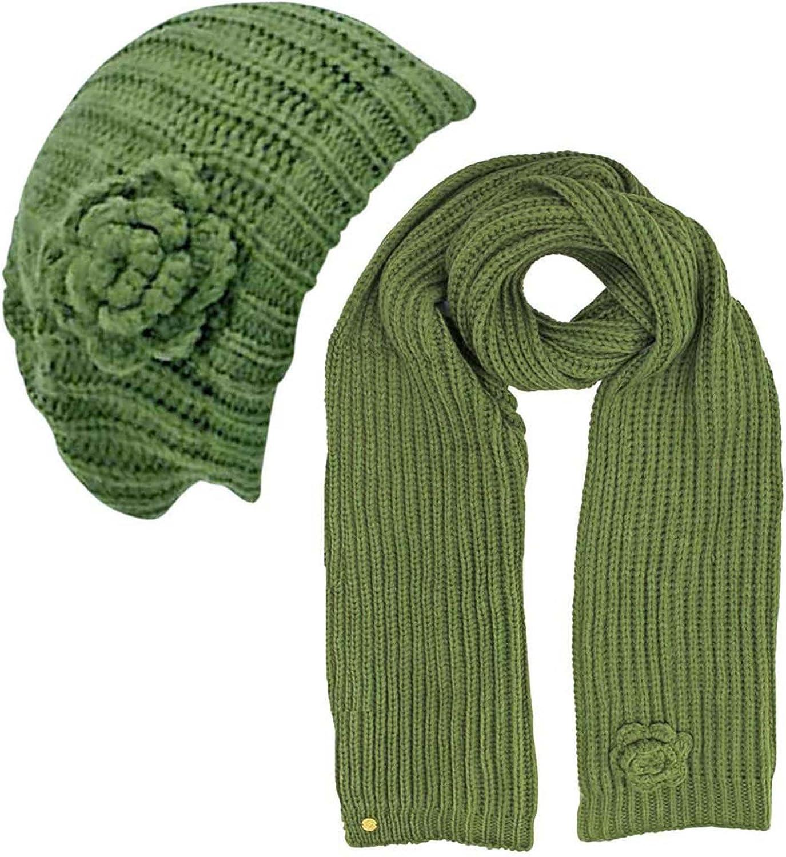 Rosette Knit Beret Hat...